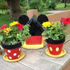 Mickey Mouse-Inspired Playful Painted Flower Pots