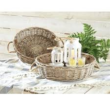 round wicker tray set shallow with handles