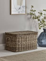 round rattan storage chest