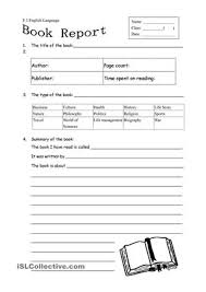 English Worksheets  BOOK REPORT WORKSHEET