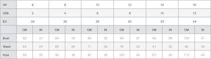 Asos Clothing Size Chart Size Guide Vesper247