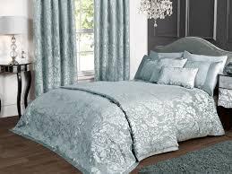 deluxe boston jacquard damask bedspread in duck egg blue