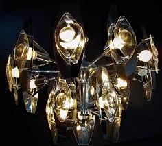 mid century modern 15 light chandelier by gaetano sciolari in chrome and glass lenses