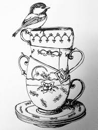 vintage tea cups drawing. Unique Cups Vintage Teacups I Love This Someone Please Print Me This On Tshirt And  Sell It To Because Want It So Precious Isnu0027t It1 U003c3 Throughout Vintage Tea Cups Drawing