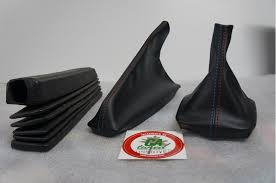 picture of e30 shift boot set black leather w m color stitching