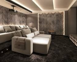 modern home theater. large minimalist enclosed carpeted home theater photo in other with beige walls and a projector screen modern houzz