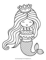 Our coloring pages are free and classified by theme, simply choose and print your drawing to color for hours! Happy Birthday Mermaid Coloring Page Free Printable Pdf From Primarygames
