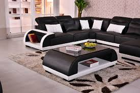 free delivery to rotterdam modern design u shape geniune leather sofa with coffee table