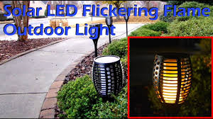 outdoor torch lighting. Solar LED Flickering Flame Outdoor Light Torch Lighting A