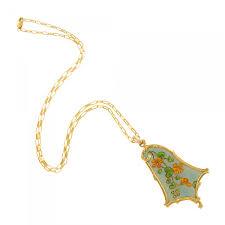 eugène feuillâtre french art nouveau gold and enamel fl pendant necklace
