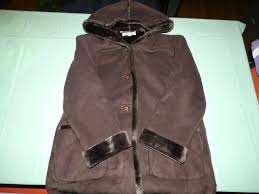 details about womens jones new york brown leather long faux fur jacket with hood