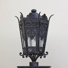 spanish style custom iron outdoor lantern post lightbox moreview