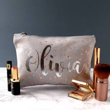 rose gold and silver triangle make up bag make up wash bags