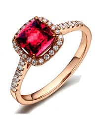 1 carat ruby and diamond antique enement ring in rose gold
