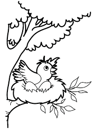 Bird Nest Coloring Page Bird Want To Jump From Bird Nest Coloring