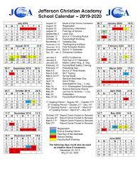 Calendars Jefferson Christian Academy