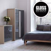 Champagne Avola With Grey Gloss Bedroom Furniture.