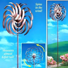 outdoor wind spinners yard metal spinner stake solar lighted decoration garden spin wheel hanging uk