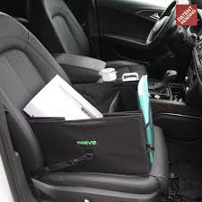 organizer filled with paperwork in a car