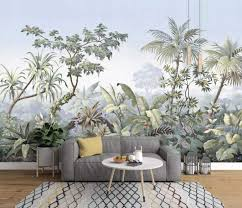 com murwall forest wallpaper tropical jungle wall mural painting wall art tree wallpaper natural home decor living room bedroom entryway handmade