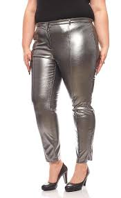 patrizia dini shimmering faux leather pants plus size short size grey