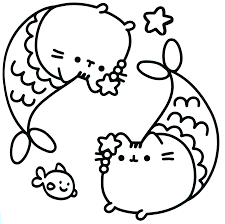 Pusheen Coloring Pages Printables Mermaid Coloring Pages