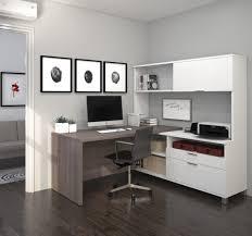 L Shaped Modern Desk Modern Premium L Shaped Desk With Hutch In Bark Gray White