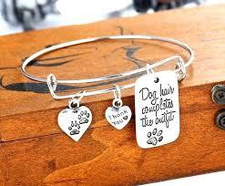 thank you bracelet dog tag pendant special words fashion paw prints heart charms bangle bracelets for