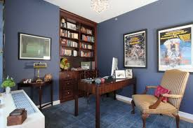 blue office walls. rich blue walls home office with book shelves c