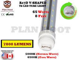Cooper R10 Light Bulb R17d 8 Feet 65w V Shaped Led Tube Light Fluorescent Replacement For F96t12 Cw Ho