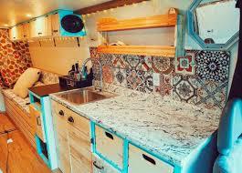 colorful diy camper van conversion kitchen ideas