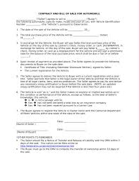 Bill Of Sale Contract Template Auto Sales Contract Forms DOC 22