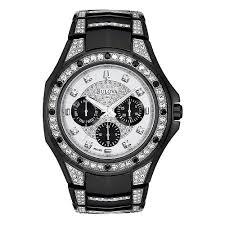 98c102 men s black crystal stud chronograph watch bulova 98c102 men s black crystal stud chronograph watch