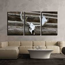 peaceful design ideas cabin wall art home com wall26 3 piece canvas elk antlers mounted metal decor rules outdoor themed