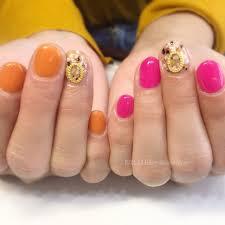 夏シンプルワンカラーピンクオレンジ Nail Blissprivate Room