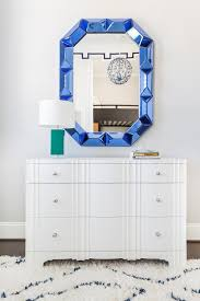 White Bedroom Dresser with Sapphire Blue Mirror - Contemporary - Bedroom