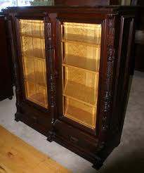 antique bookcase with glass doors nice eastlake victorian solid walnut