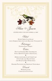 Autumn Dinner Menus Fall Indy Flourish Wedding Menu Cards And Rehearsal Dinner Menus
