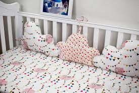 3pcs baby per clouds shaped stripe and stars design crib protection cotton baby bed per sets for girls and boys