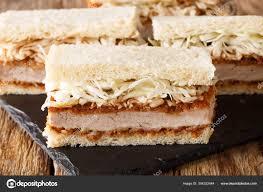 Japanese fast food katsu sando sandwiches with tonkatsu sauce an — Stock  Photo © lenyvavsha #304322444