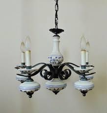 white 5 arm vintage delft iron chandelier light fixture blue