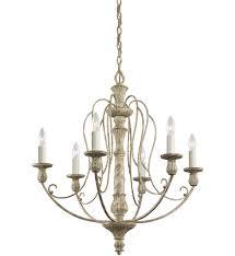 kichler 43257daw hayman bay distressed antique white 27 inch 6 light chandelier undefined