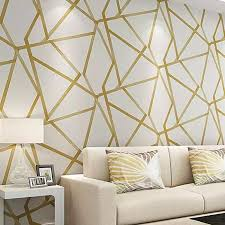 white and gold wallpaper furniture