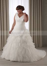 Ivory Organza V Neck Corset Back Plus Size Court Train Wedding Dress
