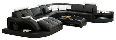 Divani Casa Emily Modern Sectional Sofa, Black and White Bonded Leather  contemporary-sectional-