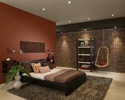 bedroom: Delectable Brown Wall Paint For Natural Bedroom Design Idea Feat  Awesome Brick Accents Wall
