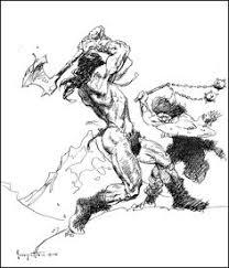 battle sketch by frank frazetta