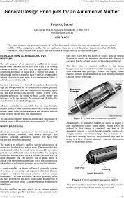 Acoustic Silencer Design General Design Principles For An Automotive Muffler Pdf