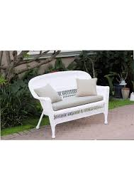 white wicker love seat