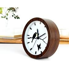 small alarm clock handmade vintage classic round silent table bird resin travel battery operated brown for best radio